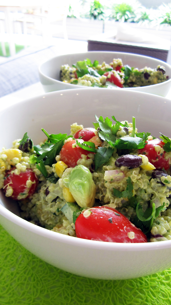 Spicy Vegan Quinoa & Bean Salad with Creamy Avocado Dressing