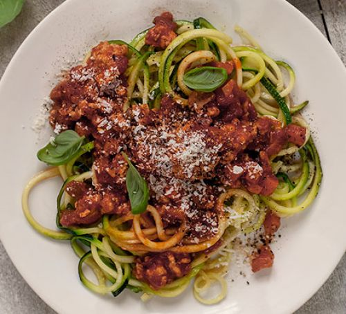 Turkey meat ball mariana with warm courgetti